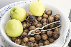 Fresh harvested Walnuts and Apples Stock Images