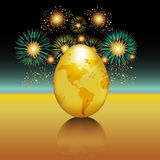 Fresh Hatch Fireworks. Celebrate the hatch of a great idea or new business with this fireworks image. Features a gold egg shaped globe Royalty Free Stock Image