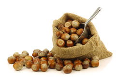 Fresh hazelnuts in a burlap bag with a scoop Stock Photos