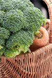 Fresh head of broccoli in a basket Royalty Free Stock Photo