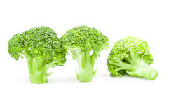 Fresh head of broccoli isolated on a white background cutout. Fresh raw broccoli on a white background. Clipping path Royalty Free Stock Photos
