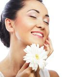 Fresh health asian woman with white gerber Royalty Free Stock Images