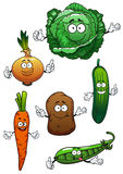 Fresh healthful vegetables cartoon characters. Fresh cartoon green cabbage, cucumber and pea, sweet orange carrot, onion and potato vegetable characters, for Royalty Free Stock Images