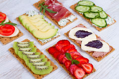 Fresh healthy appetizer snacks Royalty Free Stock Images