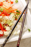 Fresh healthy asian salad with rice noodles and nuts Stock Image