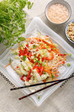 Fresh healthy asian salad with rice noodles and nuts Royalty Free Stock Images