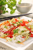 Fresh healthy asian salad with rice noodles and nuts Royalty Free Stock Image