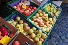 Fresh healthy bio apples on German market Stock Images