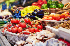 Fresh healthy bio fruits and vegetables on market Royalty Free Stock Photos