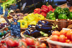 Fresh healthy bio fruits and vegetables on market Stock Photo