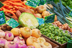 Fresh healthy bio fruits and vegetables on market Royalty Free Stock Images