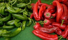 Fresh healthy bio red and green pepper on farmer agricultural market. On farmer agricultural market. Healthy vegetarian food stock photography