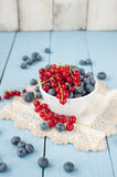 Fresh and healthy blueberries and red currant Stock Photo