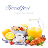 Fresh healthy breakfast with copyspace Stock Images
