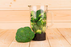 Fresh healthy broccoli in blender Stock Images