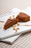 Fresh healthy carrots and walnuts cake dessert Stock Photography