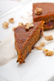 Fresh healthy carrots and walnuts cake dessert Stock Photos