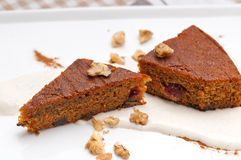 Fresh healthy carrots and walnuts cake dessert Royalty Free Stock Photography