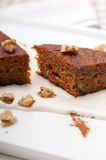 Fresh healthy carrots and walnuts cake dessert Royalty Free Stock Photo