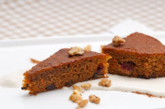 Fresh healthy carrots and walnuts cake dessert Stock Images