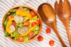 Fresh healthy close up salad top view on cotton napkin Stock Photography