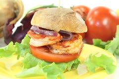 Fresh healthy delicious prawn burger Royalty Free Stock Image