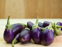 Fresh healthy eggplants. Placed on a  wooden background Stock Images