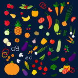 Fresh healthy farm fruits and vegetables icons Stock Photo