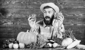 Only fresh and healthy food. bearded mature farmer. harvest festival. man chef with rich autumn crop. organic and. Natural food. happy halloween. seasonal royalty free stock images