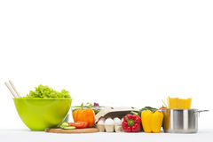 Fresh and healthy food collage on white Stock Images