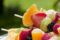 Fresh, Healthy Fruit Kebabs Royalty Free Stock Images