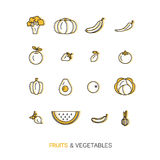 Fresh healthy fruit and vegetable icons made in trendy line style vector. royalty free stock photo
