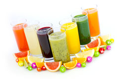 Fresh and healthy fruit and vegetable juices Stock Image