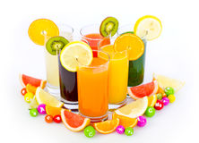 Fresh and healthy fruit and vegetable juices Royalty Free Stock Photography