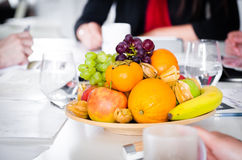 Fresh and healthy fruits on office table royalty free stock image