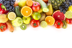 Fresh, healthy fruits and vegetables. A pile of fresh, healthy fruits and vegetables on white Stock Photography