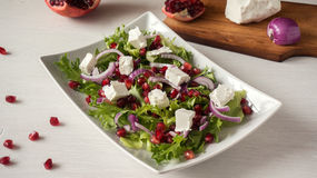Fresh healthy green salad with pomegranate seeds, onion and feta cheese Royalty Free Stock Images