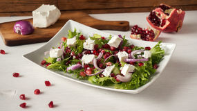 Fresh healthy green salad with pomegranate seeds, onion and feta cheese Royalty Free Stock Image