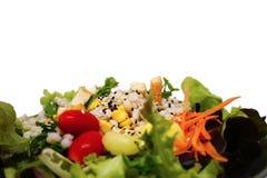Fresh healthy green salad with saseme seeds. On white background Stock Photo