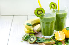 Fresh and healthy green smoothie royalty free stock photo