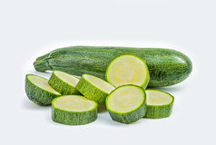 Fresh healthy green zucchini  on white background Stock Photography