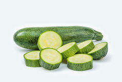 Fresh healthy green zucchini  on white background Royalty Free Stock Images