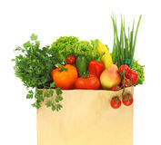 Fresh healthy groceries. In a paper bag Stock Image