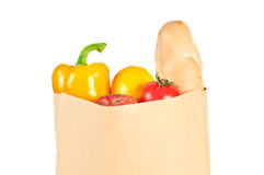 Fresh healthy groceries in a paper bag Royalty Free Stock Images