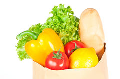 Fresh healthy groceries in a paper bag Stock Photos