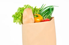 Fresh healthy groceries in a paper bag Stock Photo