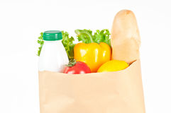 Fresh healthy groceries in a paper bag Royalty Free Stock Image