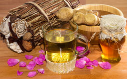 Fresh healthy herbal infusion with root ginger and honey Stock Image