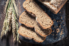 Fresh and healthy loaf of bread with whole grains royalty free stock photos