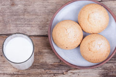 Fresh healthy milk and chip cookies top view background Royalty Free Stock Photo